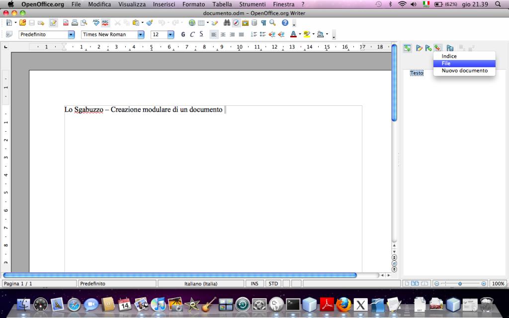 OpenOffice Writer - Inserisci File