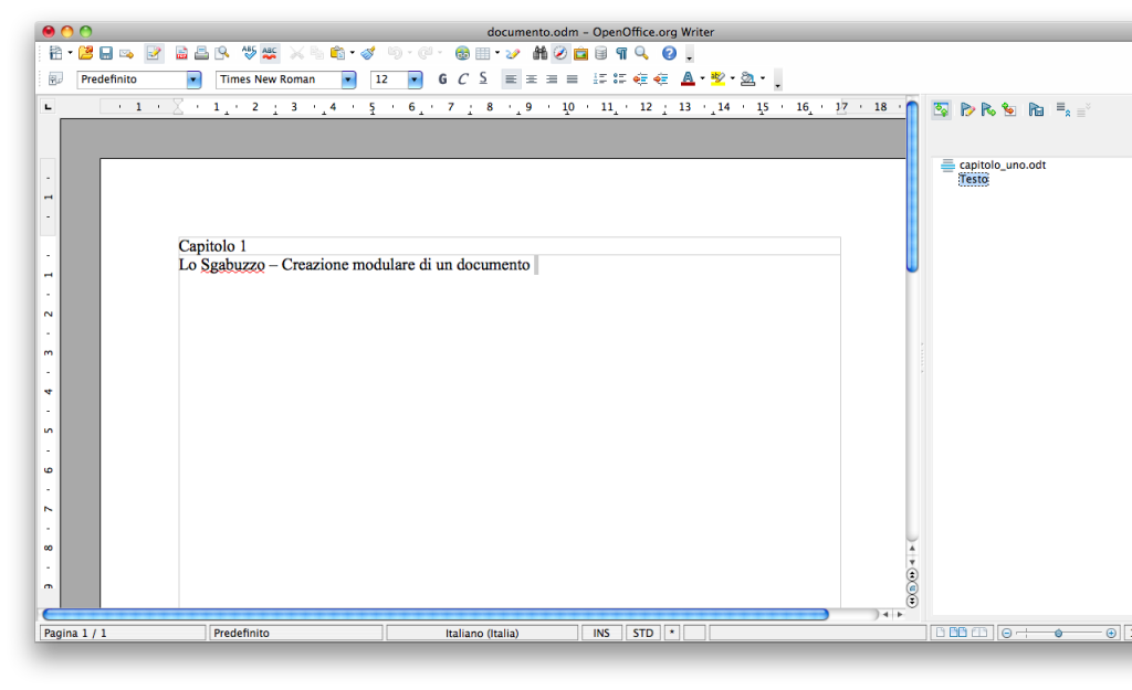 OpenOffice Writer - Inserisci capitolo